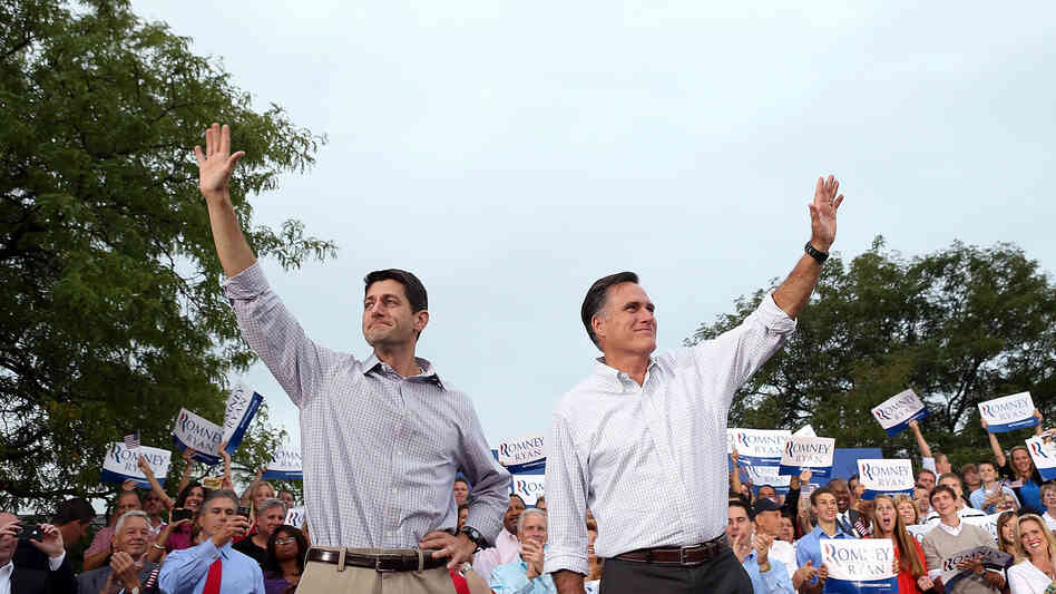 Paul Ryan and Mitt Romney campaign in Waukesha, Wis., on Aug. 12, the day after Romney made the Wisconsin congressman his vice presidential running mate.