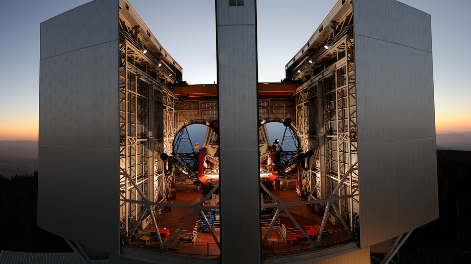 Roger Angel's mirror technology is now used in many large telescopes around the world, including this one, the Large Binocular Telescope at the Mount Graham International Observatory in Arizona. Its twin mirrors can produce images 10 times sharper than the Hubble Space Telescope. (Getty Images)