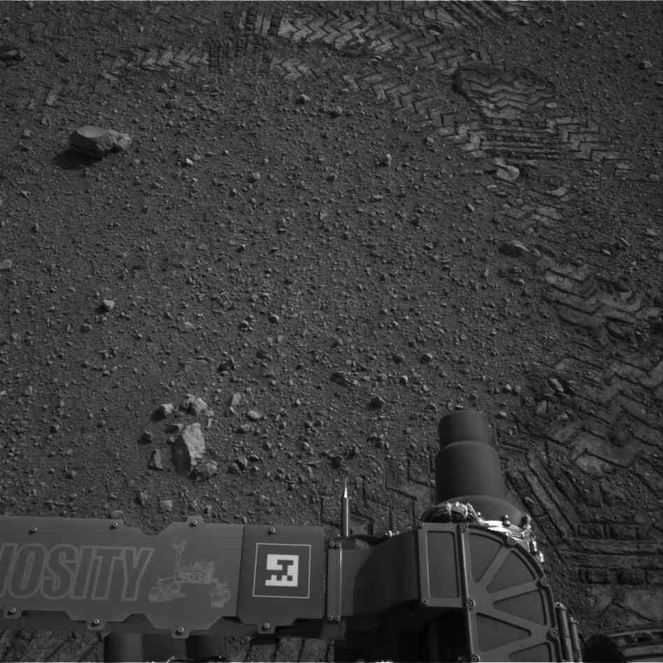 Those tracks to the top and right were made by Curiosity as it moved today.