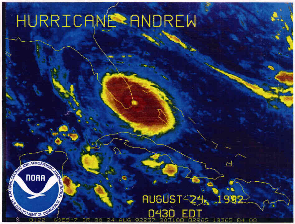 An infrared satellite image shows Hurricane Andrew making landfall in South Florida. The storm killed 15 people in the hours that followed. Dozens more would die in its aftermath.