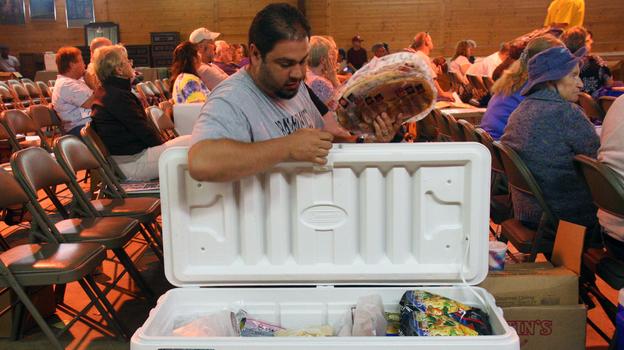 Grocery auctions have been growing in popularity as a way to get a lot of food for not a lot of money. (Matt Sindelar for NPR)