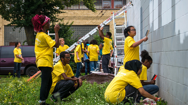Preparing a wall for a mural. (Courtesy of MPTA)