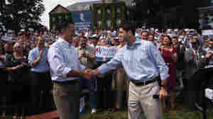 Republican presidential candidate Mitt Romney, left, shakes hands with his choice for running mate, Rep. Paul Ryan of Wisconsin, Monday in  in Manchester, N.H.