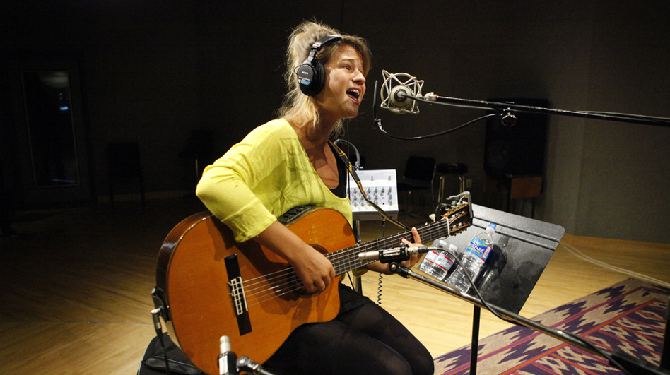 Selah Sue performs at NPR headquarters in Washington, D.C. (NPR)