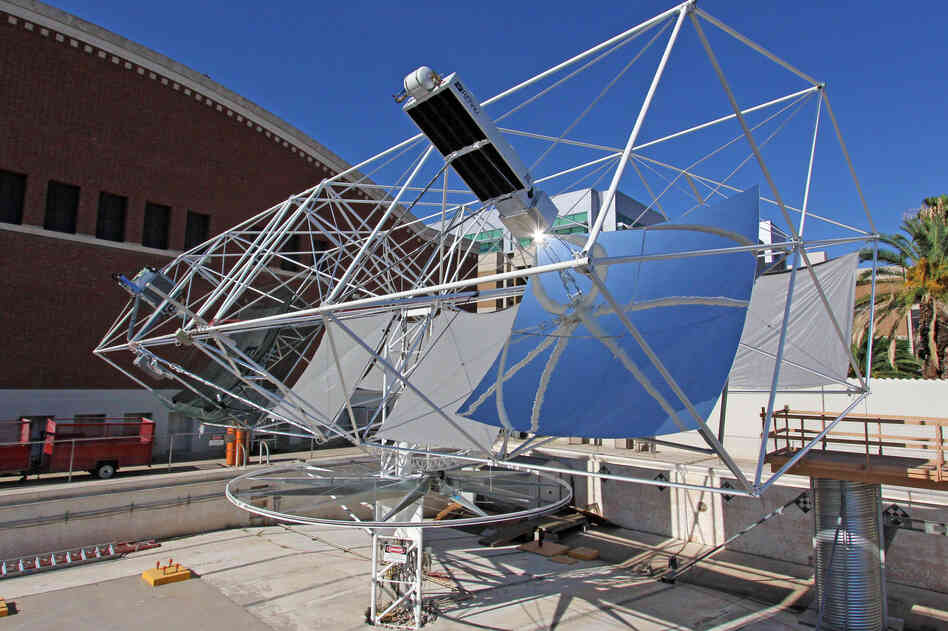 Angel is working to put another mirror-based concept into action, this time to fight climate change. The solar tracker, seen here, makes electricity by focusing sunlight on photovoltaic cells.
