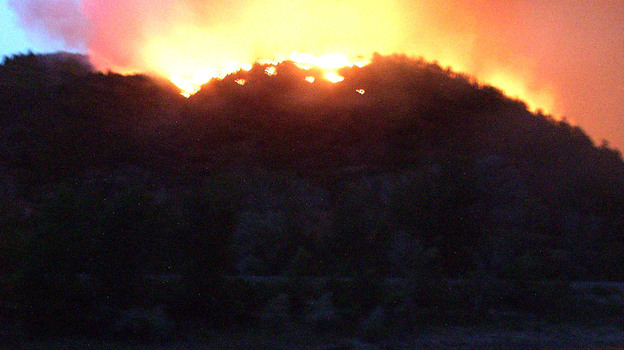 A photograph from June 8, 2002 shows flames from the Hayman wildfire, which burned in in the Rocky Mountains southwest of Denver. (Getty Images)