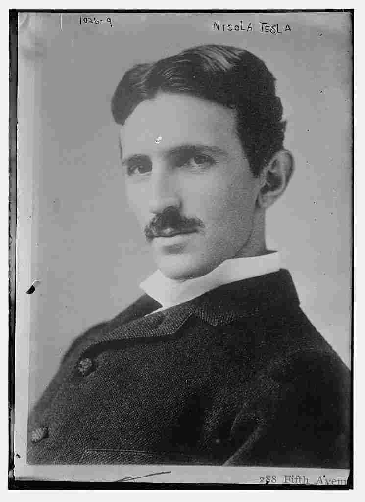 In his time, Tesla was world famous. He was a wizard of electrical engineering. His power systems lit up the 1893 Chicago World's Fair. He's seen here circa 1895.