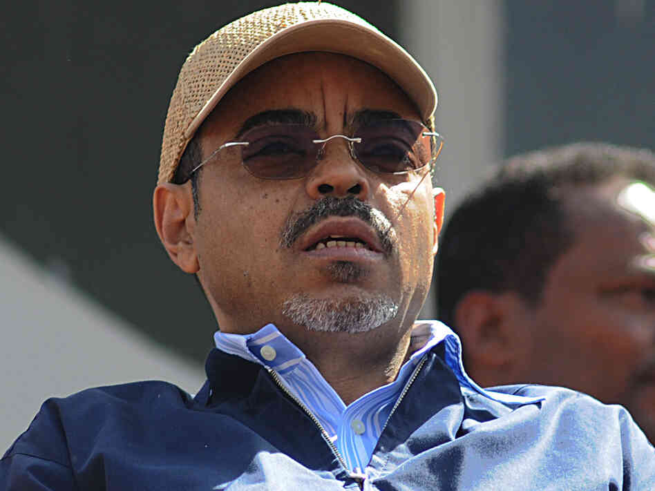 Ethiopian Prime Minister Meles Zenawi follows proceedings at the Meskel Square in Addis Ababa on May 25, 2010 to celebrate his landslide election victory.