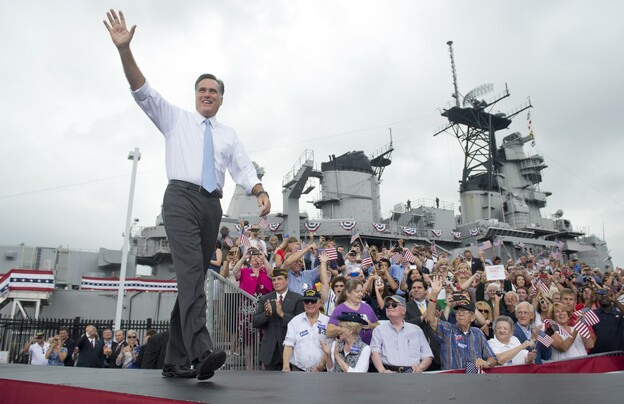 Mitt Romney, the presumptive Republican presidential candidate, arrives to announce his choice of running mate aboard the U.S.S. Wisconsin in Norfolk, Va., on Aug. 11.