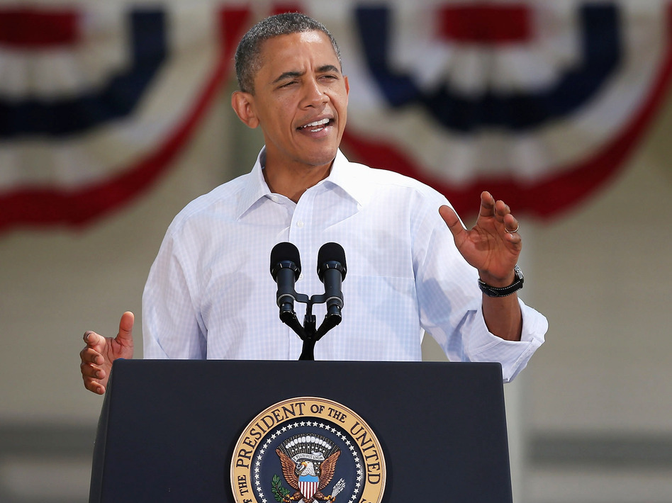 President Obama is on record as opposing superPACs for normalizing gigantic donations, but his campaign has hesitantly decided to accept donations from such groups. He is shown above speaking during a campaign stop in Oskaloosa, Iowa, last week. (Scott Olson/Getty Images)