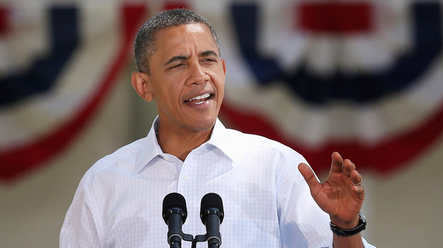 President Obama is on record as opposing superPACs for normalizing gigantic donations, but his campaign has hesitantly decided to accept donations from such groups. He is shown above speaking during a campaign stop in Oskaloosa, Iowa, last week. (Getty Images)