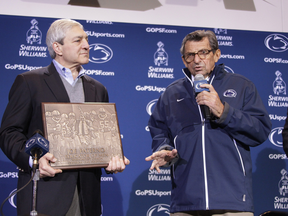 Then-Penn State President Graham Spanier and then-head football coach Joe Paterno last fall, before the Jerry Sandusky scandal cost them both their jobs.