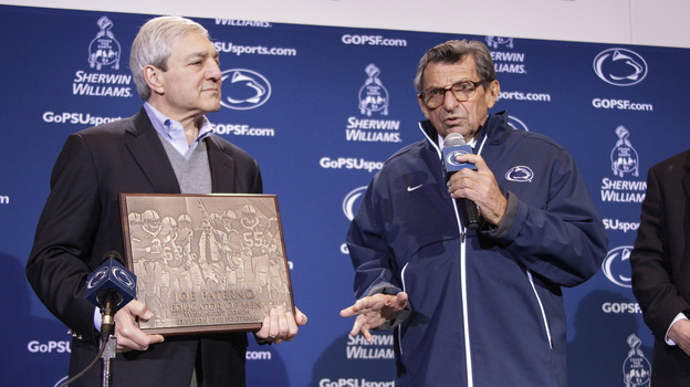 Then-Penn State President Graham Spanier and then-head football coach Joe Paterno last fall, before the Jerry Sandusky scandal cost them both their jobs. (AP)