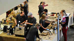 Serving coffee at A 2nd Cup.