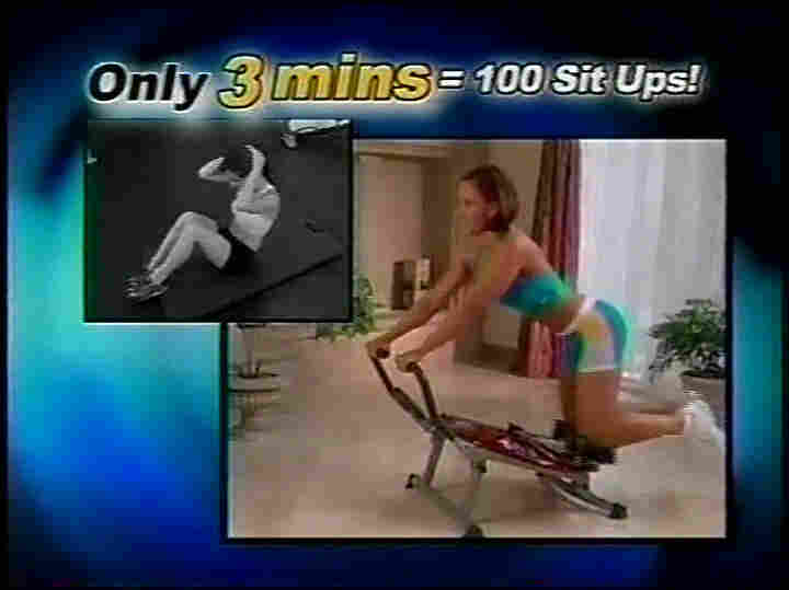 A screen shot of one of the infomercials, promising three minutes is like doing 100 sit ups.