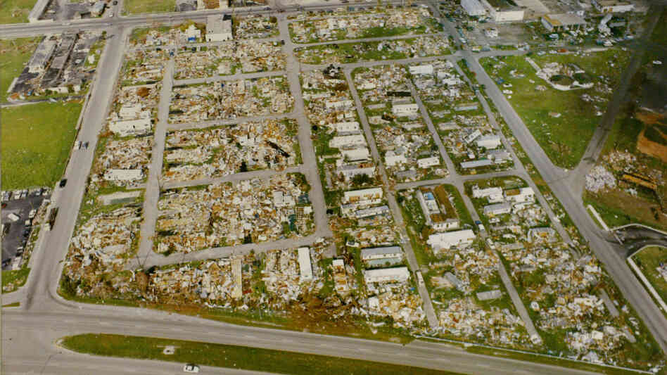 An aerial view of Homestead, Fla., taken on Sept. 7, 1992, two weeks after Hurricane Andrew's 165-mile-per-hour winds took out nearly every buil