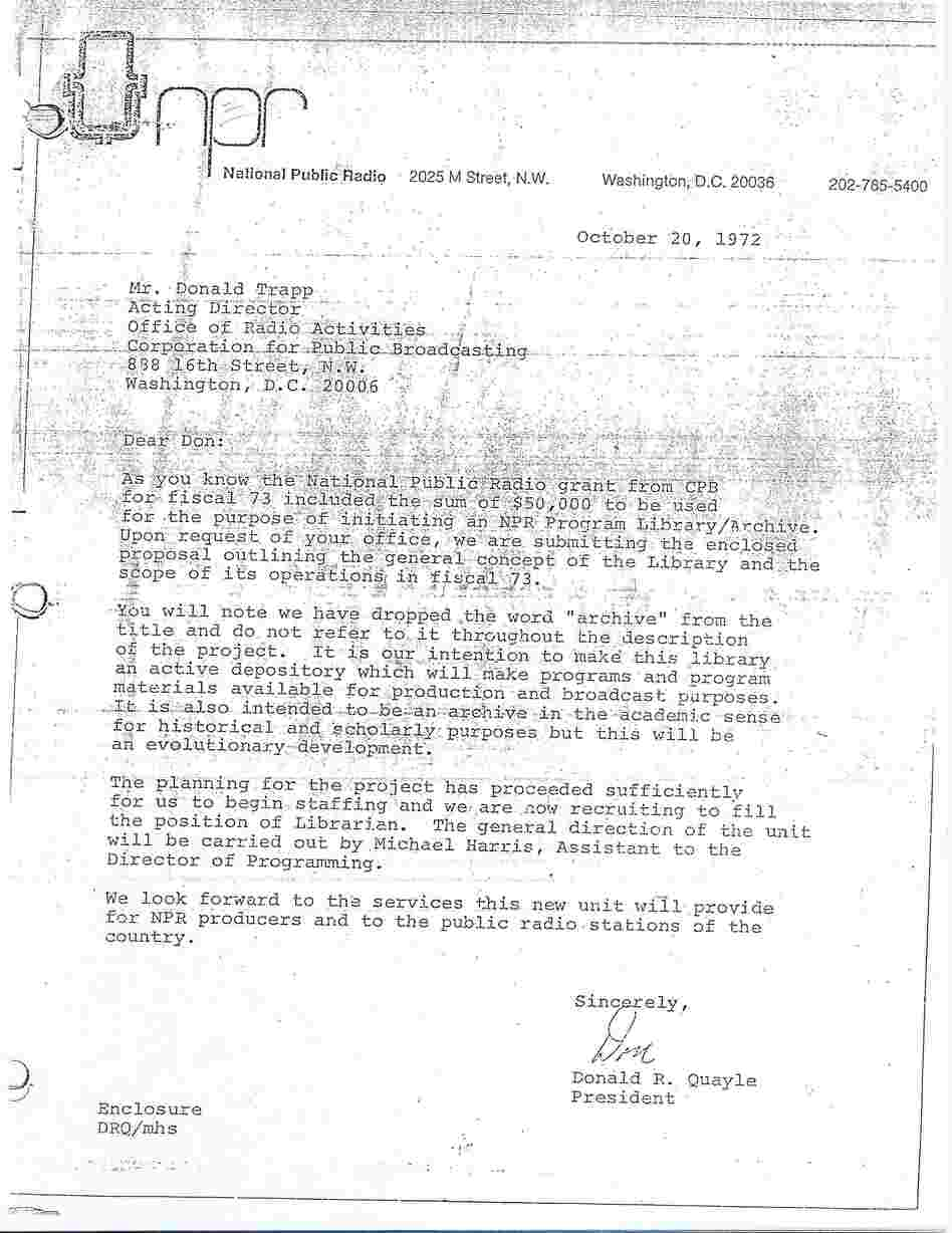 The memo establishing the NPR Library in 1972.