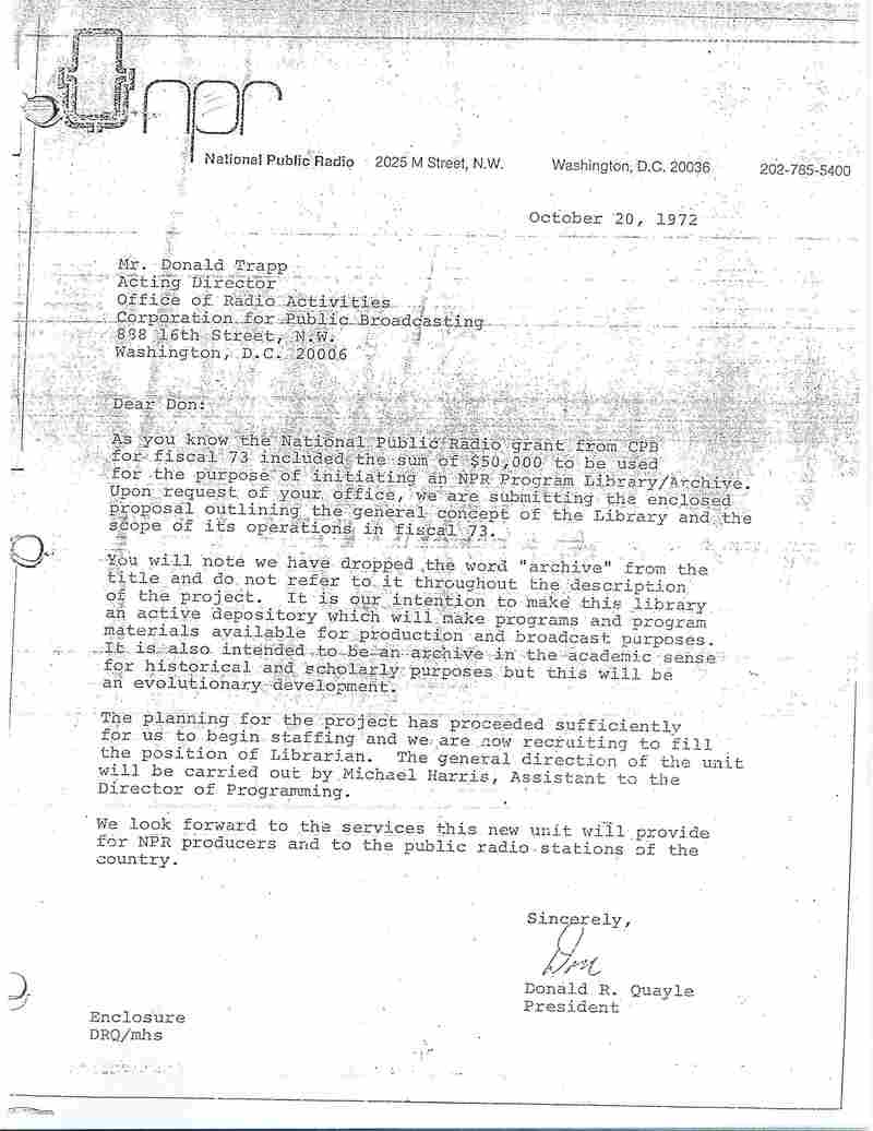The memo establishing the NPR Library in 1972.