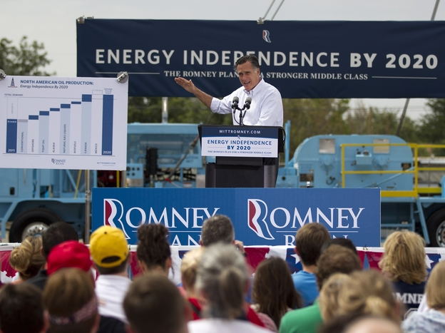 In unveiling his energy policy during a campaign event on Thursday, Mitt Romney says he wants to set a goal of North American energy independence by 2020. (AP)