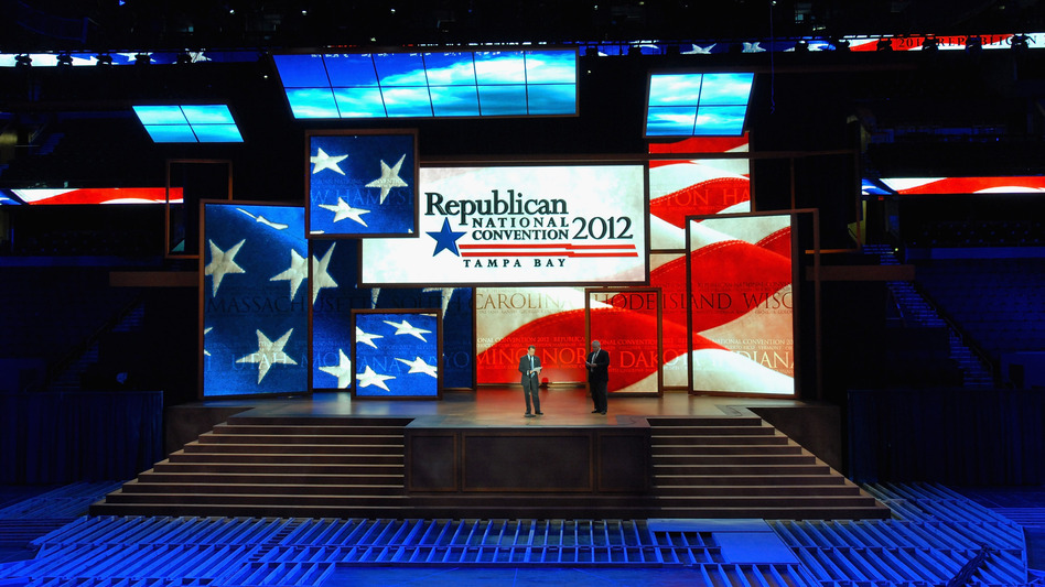 Republican National Committee officials unveiled the stage inside the Tampa Bay Times Forum this week ahead of the Republican National Convention, which may or may not begin Monday. (Getty Images)