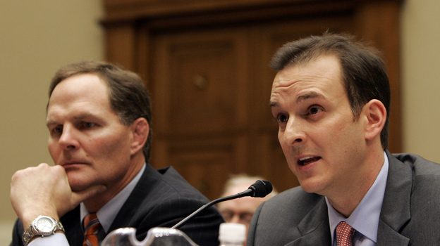 United States Anti-Doping Agency Chief Executive Officer Travis Tygart, right, during a subcommittee hearing on drug use in sports in 2008. (AP)
