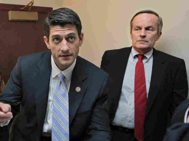 As congressional colleagues, Rep. Todd Akin (right) and Rep. Paul Ryan have co-sponsored anti-abortion legislation. They're seen here before a press conference on Ryan's budget proposal on Apr. 5, 2011.