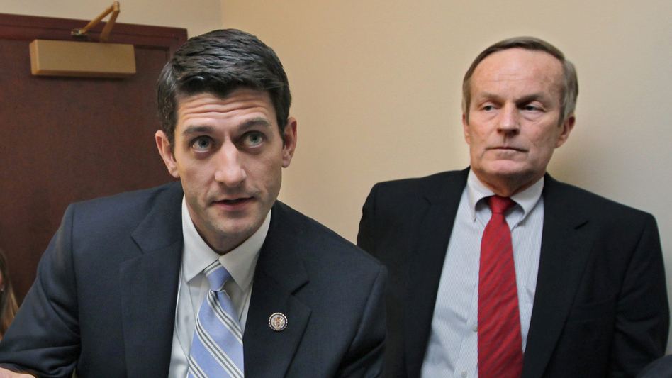As congressional colleagues, Rep. Todd Akin (right) and Rep. Paul Ryan have co-sponsored anti-abortion legislation. They're seen here before a press conference on Ryan's budget proposal on Apr. 5, 2011. (AP)