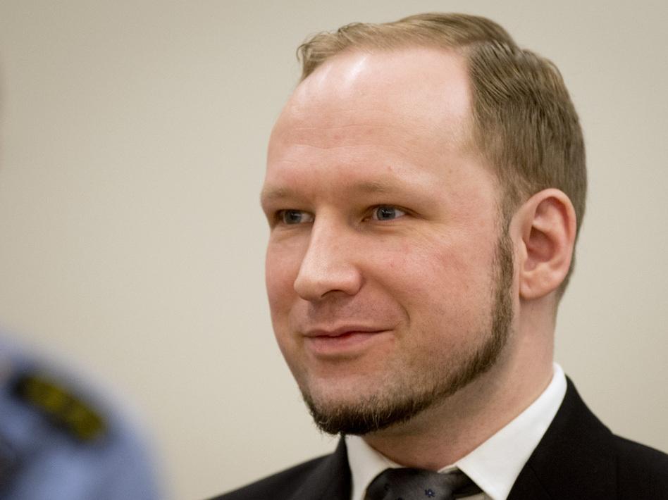 Anders Behring Breivik in court today.