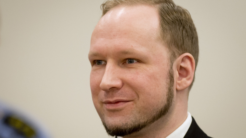 Anders Behring Breivik in court today. (AFP/Getty Images)