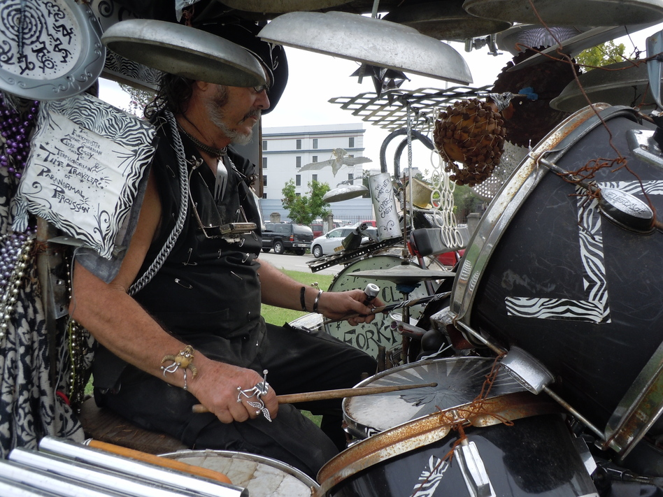 """""""I sit inside of it,"""" Casey says of his percussion machine. """"It's got four wheels — it's a quadcycle — and I'm able to pedal and play."""""""