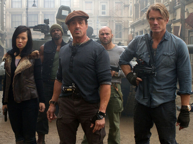 """NPR aired a review of """"The Expendables 2"""" calling it a violent but thought provoking film. One listener took offense to the language used to describe its powerhouse of superstars."""