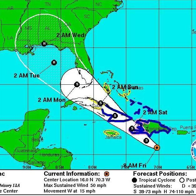 The forecast as of 8 a.m. ET Friday on where Isaac is likely to go.