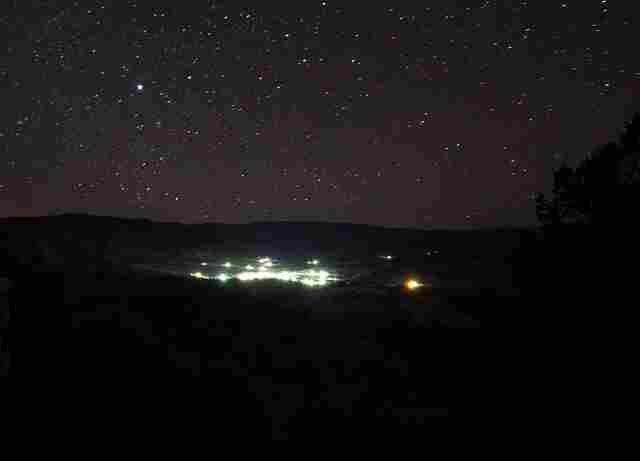 Overlooking the town of Monument, Oregon at night.