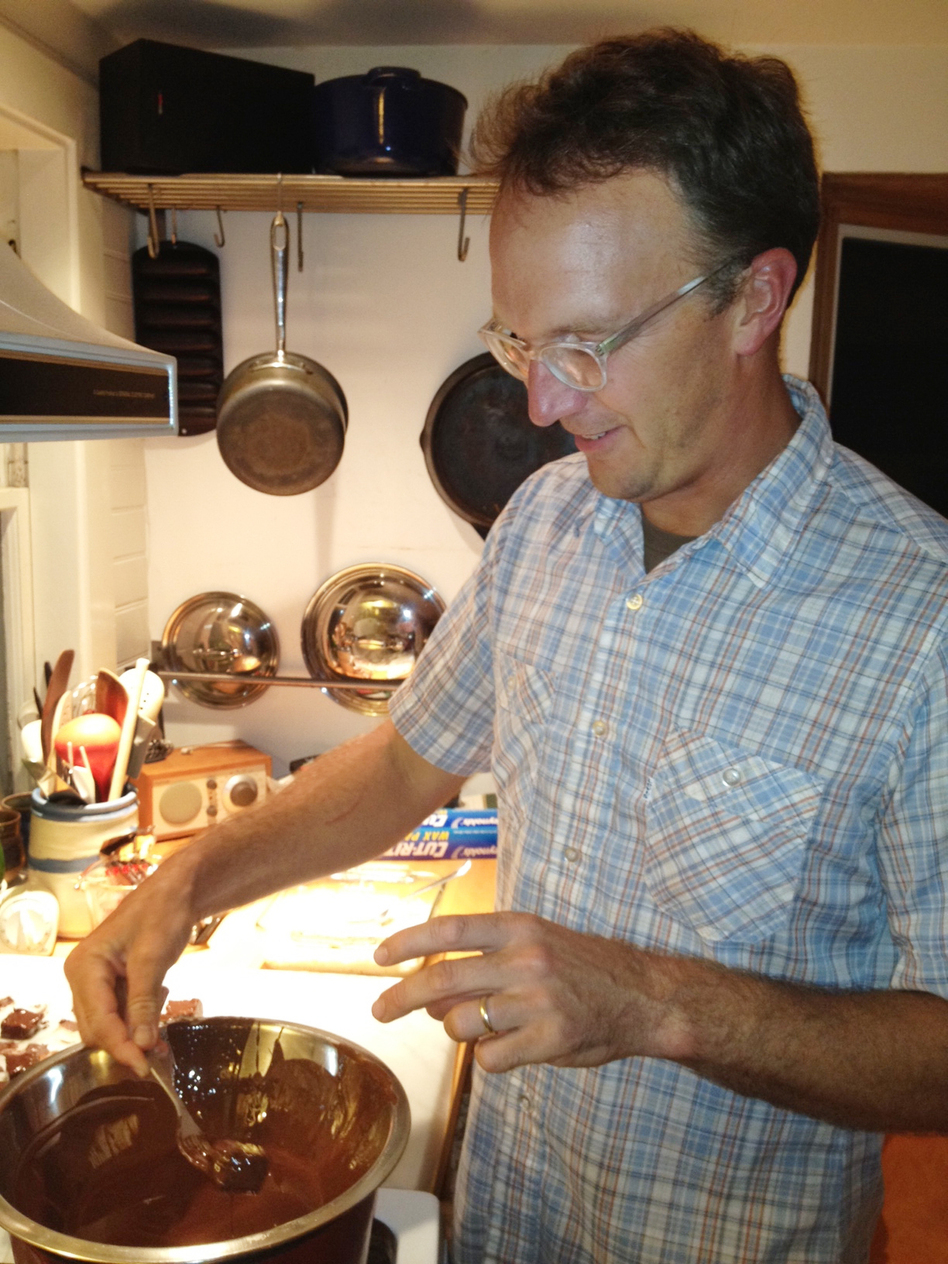 Jon Courtney makes needhams in his kitchen with potatoes from his own garden. (Patty Wight for NPR)