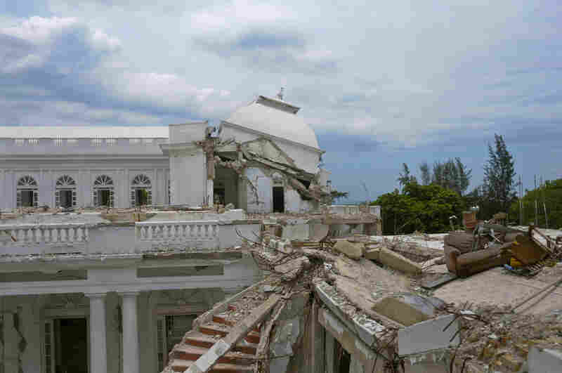 A view of the collapsed cupola of the National Palace is seen in Port-au-Prince on Aug. 13. The palace, which was destroyed in the 2010 earthquake that killed an estimated 200,000 people, was supposed to be demolished to make way for new construction, but the plan has been delayed.