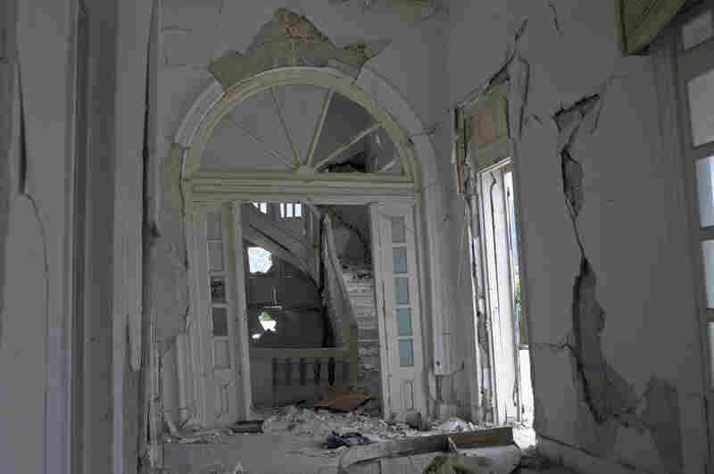 An interior view of the destroyed building.