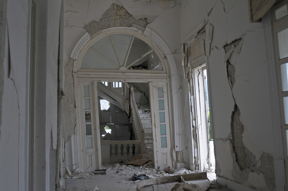 An interior view of the destroyed building. (Courtesy of Reuters)