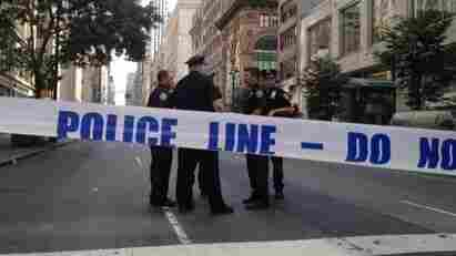 One of the blocked off streets near the scene of today's shooting outside the Empire State Building.