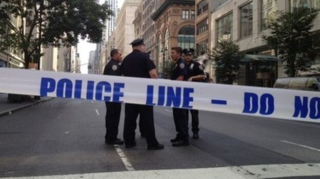 One of the blocked off streets near the scene of today's shooting outside the Empire State Building. (WNYC)