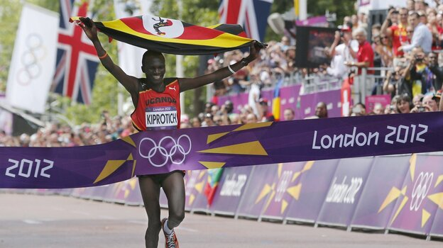 Uganda's Stephen Kiprotich wins the gold medal in the men's marathon at th