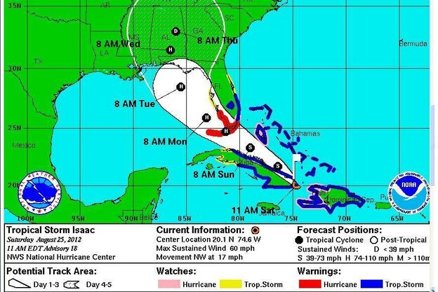 Tropical Storm Isaac's projected path on Saturday, Aug. 25, 2012