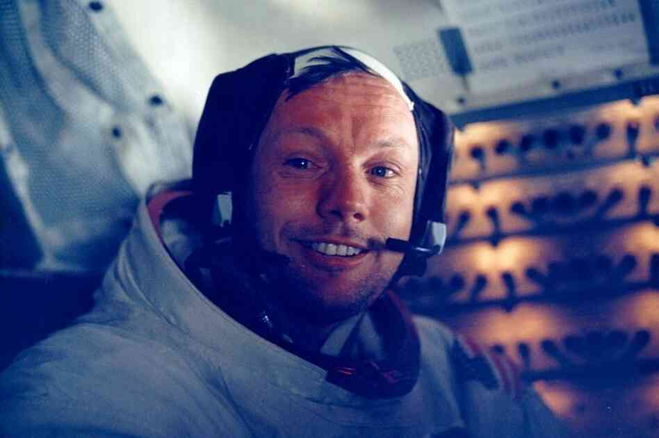 Armstrong in the lunar module after the historic moonwalk.