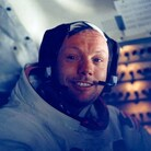 Neil Armstrong in the lunar module after a historic moonwalk on July 20, 1969
