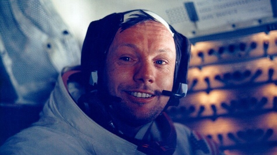 Armstrong in the lunar module after the historic moonwalk. (NASA)