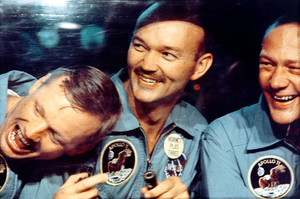 Armstrong (left), Collins (center) and Aldrin after the Apollo 11 mission in a shot from the 2007 film In the Shadow of the Moon.