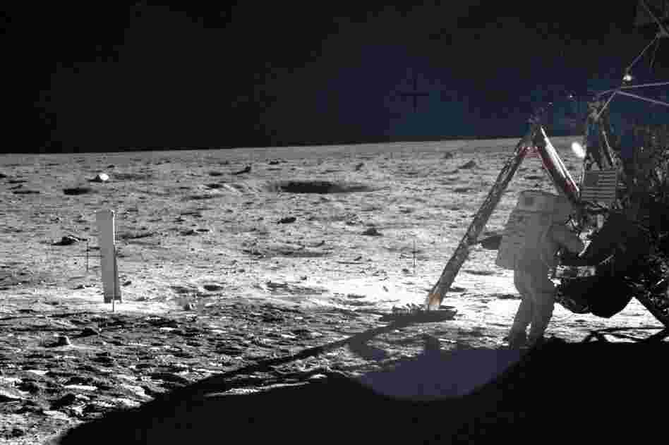 This frame from Aldrin's panorama of the Apollo 11 landing site shows Armstrong on the lunar surface.