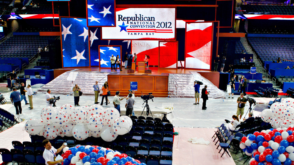 Riggers load nets full of balloons for the Republican National Convention festivities inside the Tampa Bay Times Forum on Friday in Tampa, Fla. (AP)