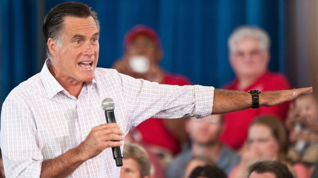 Republican presidential candidate Mitt Romney speaks at a town hall meeting in Grand Junction, Colo., on July 10. Romney says he wants to sharply cut income tax rates, but that those cuts would be revenue-neutral. (AFP/Getty Images)