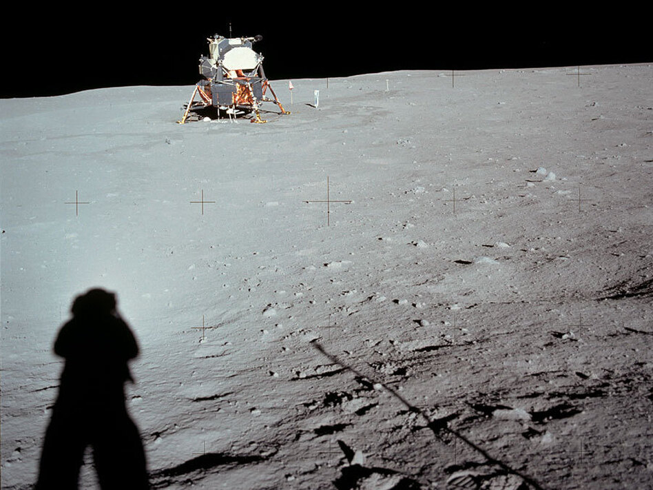 Neil Armstrong casts a shadow in a photograph he took of the lunar lander Eagle near the end of his historic moonwalk.