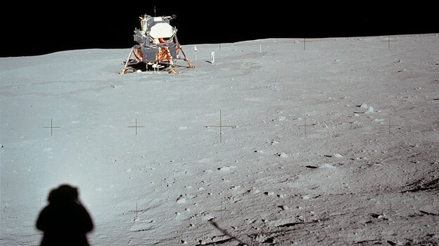 Neil Armstrong casts a shadow in a photograph he took of the lunar lander Eagle near the end of his historic moonwalk. (NASA)